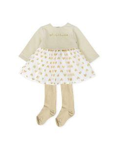 Agatha Ruiz de la Prada Girls 2Pc Dress And Tights Size 3m-24m | 8220W19 W01 White