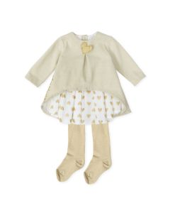 Agatha Ruiz de la Prada Girls 2Pc Dress And Tights Size 3m-24m | 8320W19 W01 Gold