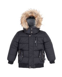 Deux par Deux Boys Hooded Jacket Size 3-14 | B20W57 999C Black