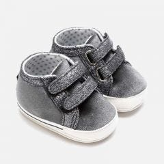 Mayoral SHOE GREY SILVER SPARKLE TRIM VELCRO CLOSURE Sizes 16-19 | 9219 GREY