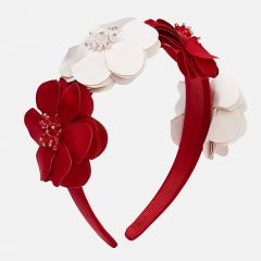 Mayoral HEADBAND HARD RED & BEIGE FLOWER BEADED CENTRE Sizes 4   10712 RED