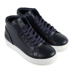 SHOE HIGH CUT NAVY LEATHER  LACES