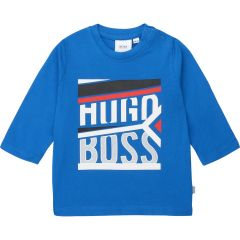 TSHIRT BLUE WHITE HUGO BOSS LOGO LONG SLEEVE