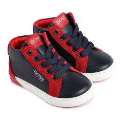 SHOE HIGH CUT NAVY & RED  ZIP+LACES