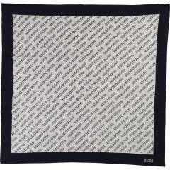 KNIT BLANKET NAVY & GREY BOSS PRINT