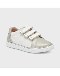 SHOE SILVER LACE SPORTY 3 VELCRO STRAPS CLOSURE