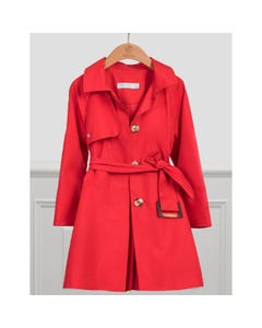 Abel & Lula Girls Trench Coat Red With Belt & Pleated Back Size 4-14 | Kids Jackets 5327 Red