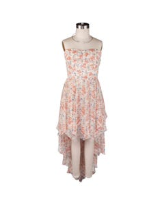 DRESS BEIGE & CORAL FLORAL PRINT CHIFFON PLEATED BODICE PANELLED BACK