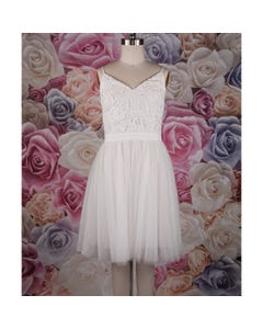 DRESS WHITE LACE BODICE TULLE SKIRT