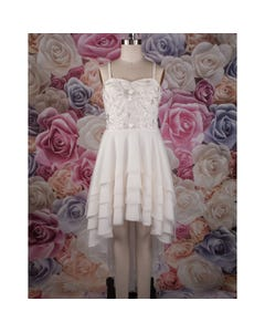DRESS WHITE PEARL EMBROIDERED TULLE BODICE & TIERED SKIRT