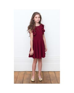 DRESS WINE FLOUNCE SLEEVE TRIM