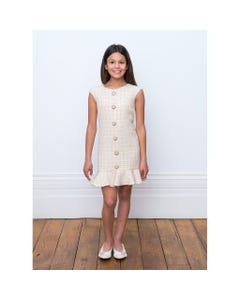 DRESS IVORY GOLD LINES JEWEL BUTTONS TRM
