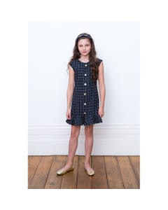 DRESS NAVY GOLD LINES JEWEL BUTTON TRIM