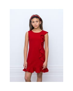 DRESS RED FLOUNCE SIDE TRIM
