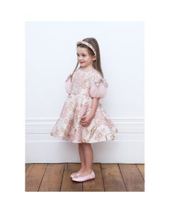 DRESS PINK EMBOSSED FLOWERS GOLD LEAVES TULLE SLEEVE