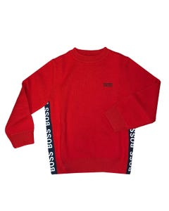 SWEATER RED KNIT NAVY SIDE STRIPE WITH WHITE BOSS LOGO LONG SLEEVE