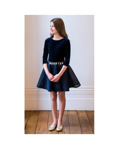 NAVY DRESS WITH GOLD BELT