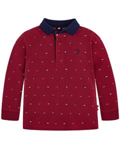 WINE NAVY PRINT POLO