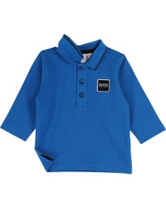 POLO TOP BRIGHT BLUE LONG SLEEVE NAVY TRIM