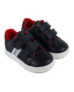 SHOE TRAINERS NAVY VELCRO RED LINING