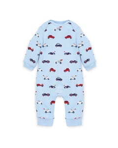 ROMPER BLUE CAR PRINT SMALL LONG SLEEVE