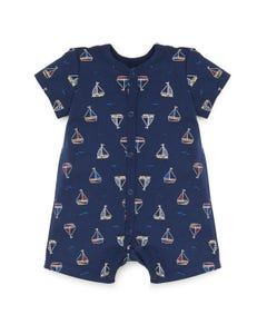ROMPER NAVY SHORT SAILBOAT PRINT