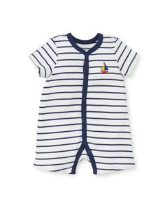 ROMPER SHORT STRIPE NAVY & WHITE SAILBOAT EMB