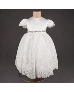 DRESS IVORY LACE EMBROIDERED SKIRT & CAP SLEEVE JEWELLED BELT