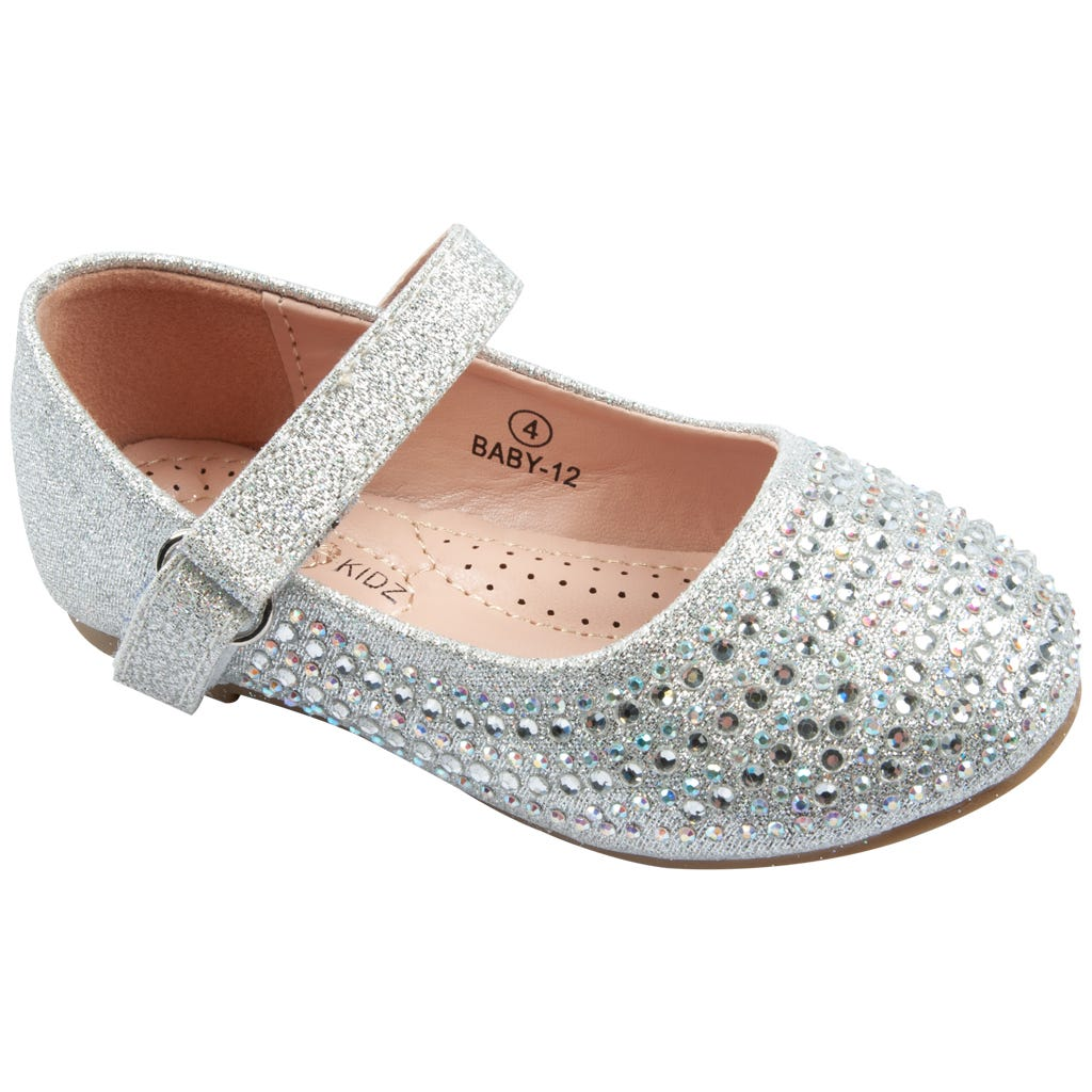 Luxe Kidz Shoes Girls Silver Rhinestone