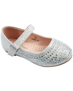 SHOE SILVER & RSTONES FLAT SPARKLY