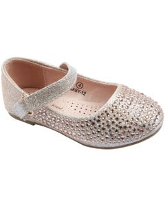 SHOE GOLD & RSTONES FLAT SPARKLY