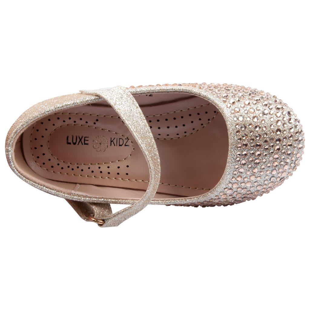 Luxe Kidz Shoes Girls Gold Rhinestone