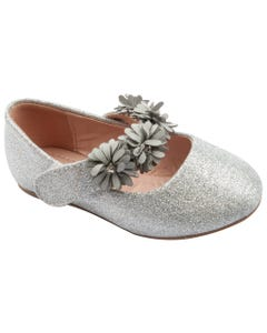 SHOE SILVER & FLOWER STRAP APPLIQUE SPARKLY FLAT