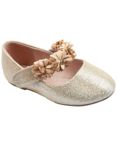 SHOE GOLD & FLOWER STRAP APPLIQUE SPARKLY FLAT