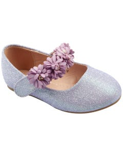 SHOE LAVENDER FLOWER STRAP APPLIQUE FLAT SPARKLY