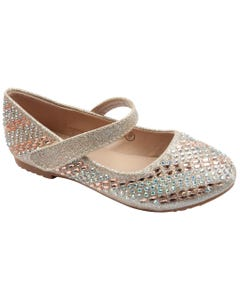 SHOE ROSEGOLD & RSTONES FLAT SPARKLY