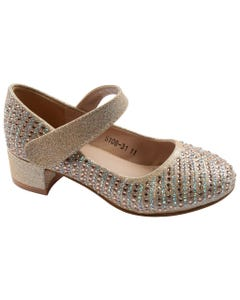 SHOE GOLD & RSTONES HEEL SPARKLY