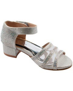 SANDAL SILVER & RSTONES & MESH HEEL SPARKLY