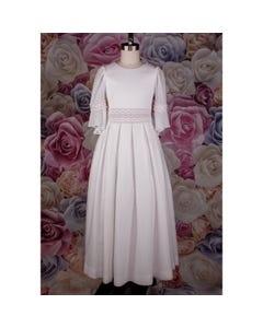 Z10077TUT GOWN WHITE FLOCK COTTON GUIPURE TRIM WITH FLOWERS 1 ONLY