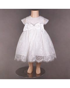 DRESS WHITE LACE ALLOVER BOW WITH RSTONE TRIM