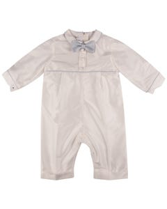SILK ROMPER BLUE PIPING & BOW TIE TRIM