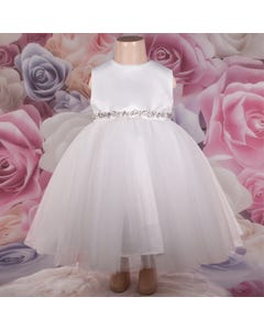DRESS IVORY SATIN & TULLE SKIRT RSTONE BELT