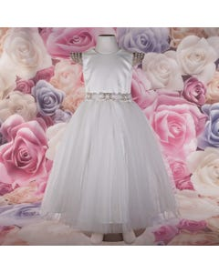 DRESS IVORY BEADED CAP SLEEVE SATIN & TULLE SKIRT RSTONE BELT