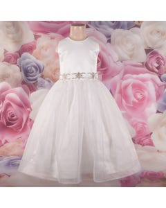 DRESS IVORY SATIN & ORGANZA SKIRT HBONE & RSTONE BELT TRIM