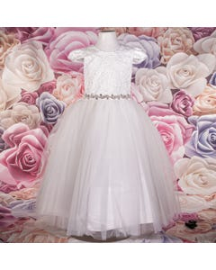 DRESS IVORY LASER CUT APPLIQUE BODICE ORGANZA SKIRT RSTONE BELT