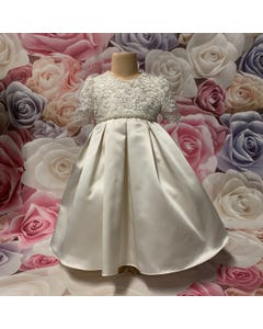 DRESS IVORY SILVER LACE BODICE & PLEATED SATIN  SKIRT ONE ONLY