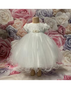 DRESS WHITE LACE BODICE TULLE SKIRT WIRE TRIM CAP SLEEVE PEARL TRIM