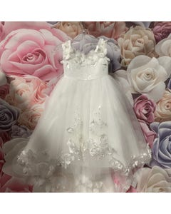 DRESS OFF WHITE HIGH LOW FLOWER EMBROIDERED TULLE & APPLIQUE PEARL