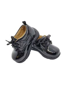 SHOES BLACK PATENT BABY WITH LACES TENDER TOES