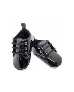 SHOE BLACK PATENT WITH LACES SOFT TENDER TOES